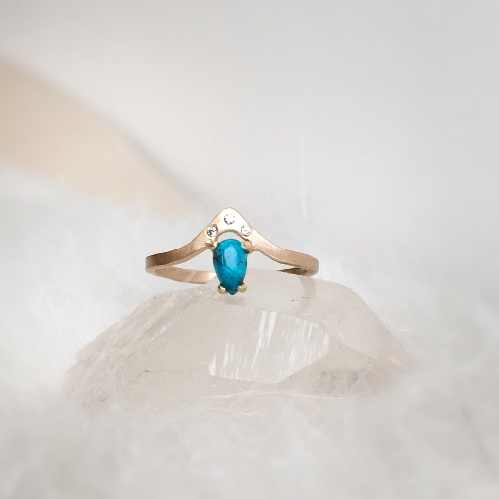 ON SALE Kingman Turquoise + Diamond Gold Band from $348