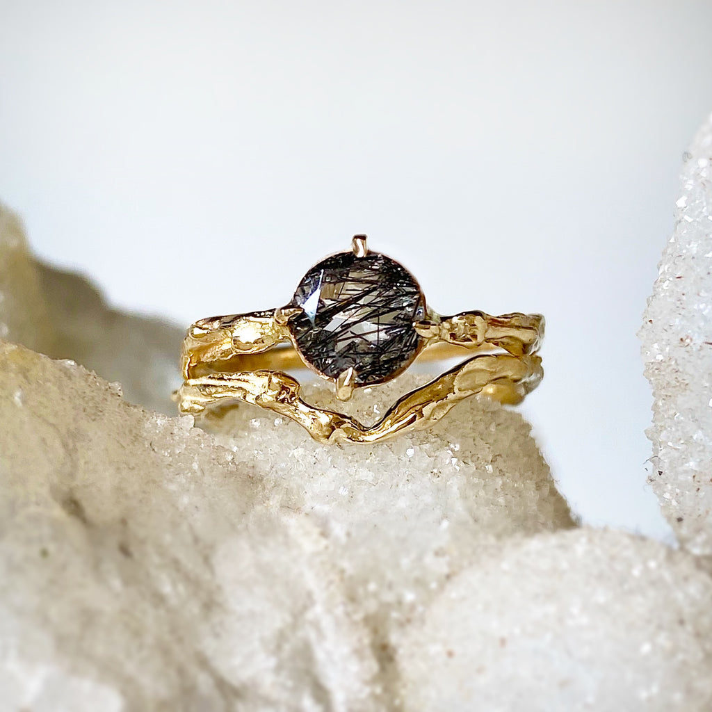 Rutilated Quartz + Gold Ring