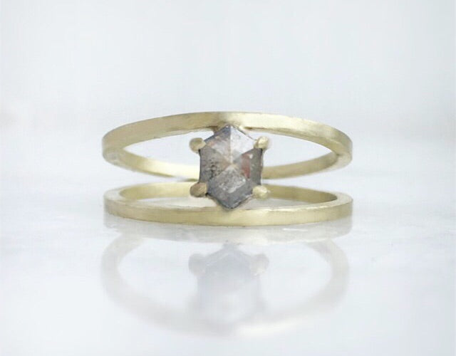 Grey Diamond + Green Gold Ring