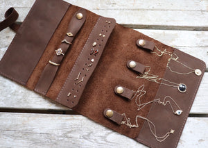 Genuine Leather Jewelry Roll