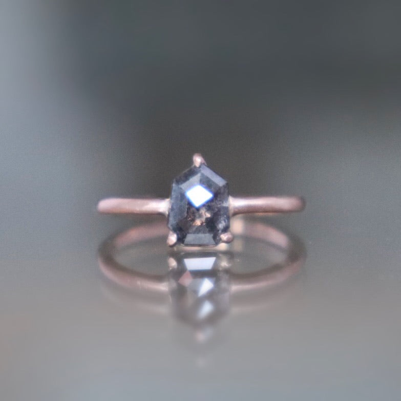 Salt + Pepper Shield Diamond Ring