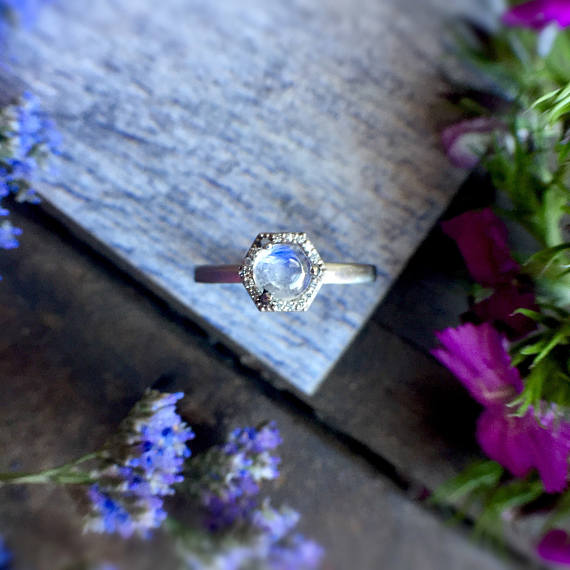 RAINBOW MOONSTONE + DIAMOND HEXAGON HALO RING