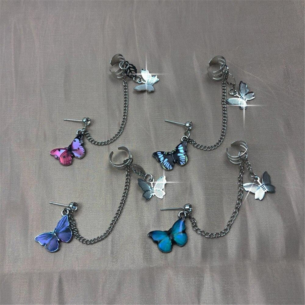 Charm Colorful Butterfly Stud Ear Tassel Ear Clips Earrings