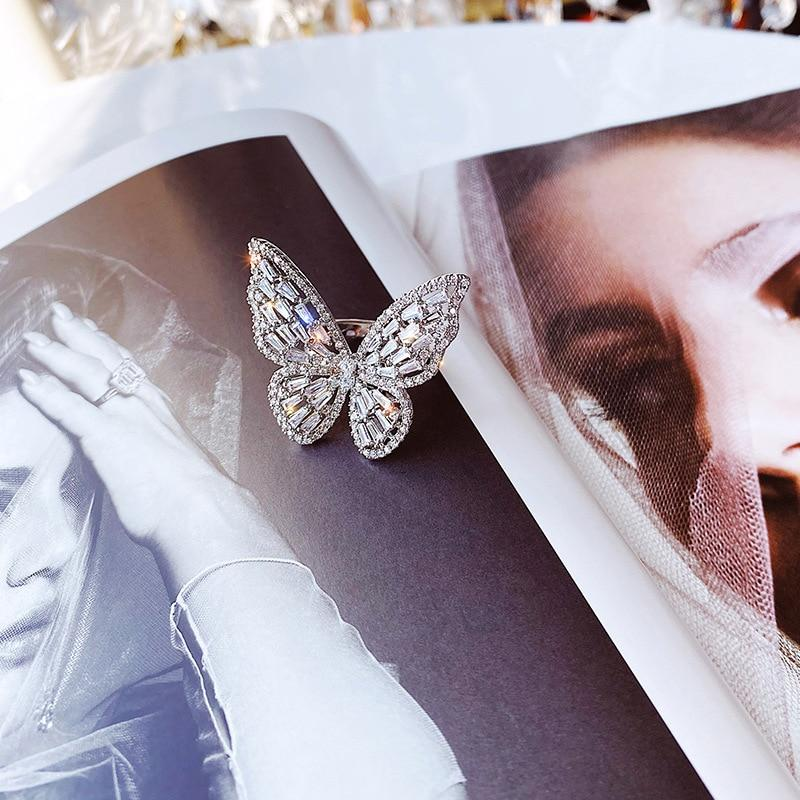 Big Butterfly Open Adjustable Rings