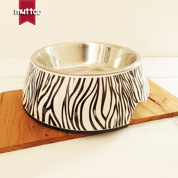 Premium 2-in-1 Stainless Steel Zebra Bowl - Puppernaut Dog Supplies