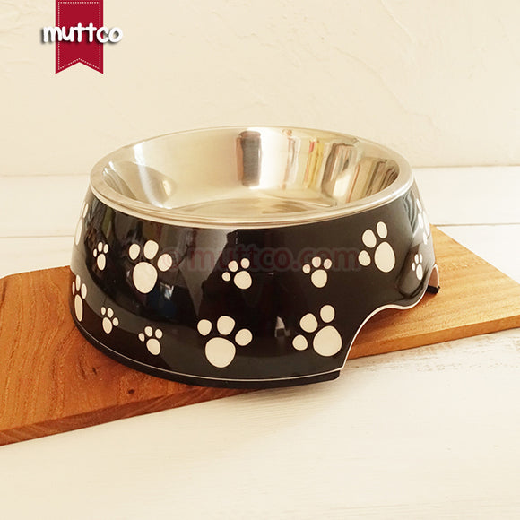 Premium 2-in-1 Stainless Steel Paw Print Bowl - Puppernaut Dog Supplies