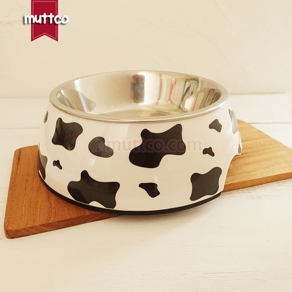 Premium 2-in-1 Stainless Steel Cow Print Bowl - Puppernaut Dog Supplies