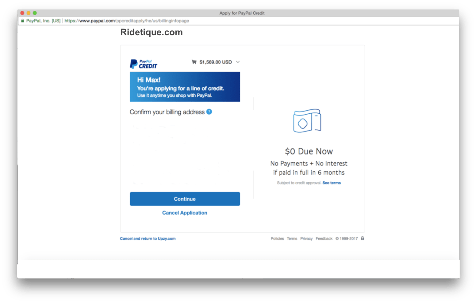 Financing with PayPal Credit – Ridetique