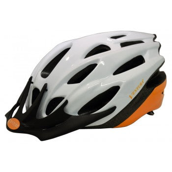 Ventura | White/Orange In-Mold Helmet -  Ridetique.com