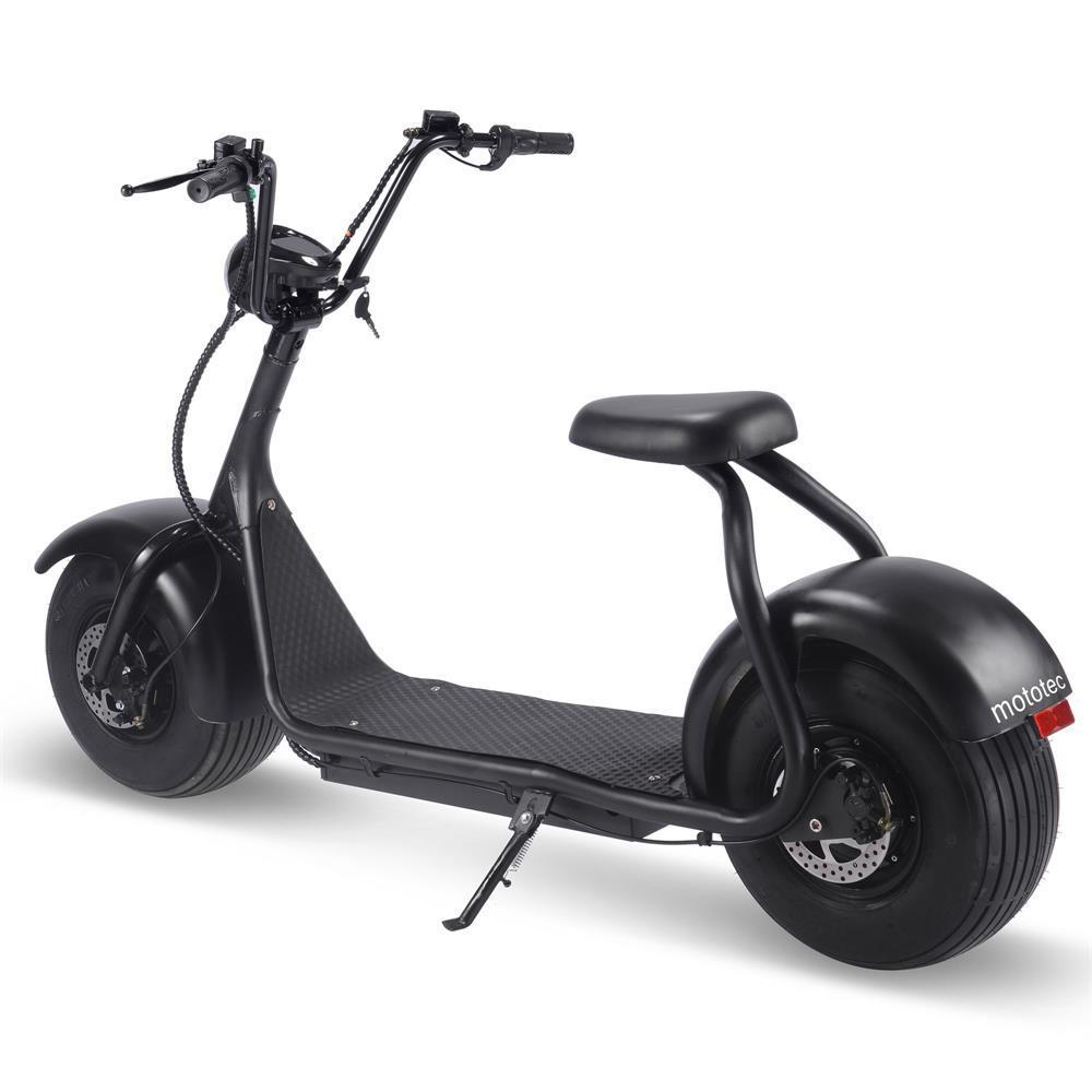 MotoTec Fat Tire 60v 18ah 2000w Lithium Electric Scooter Black - Electric Scooter Business (+[variant_title].00) / Not Needed (+[variant_title].00) / Yes (+59.00) Ridetique.com