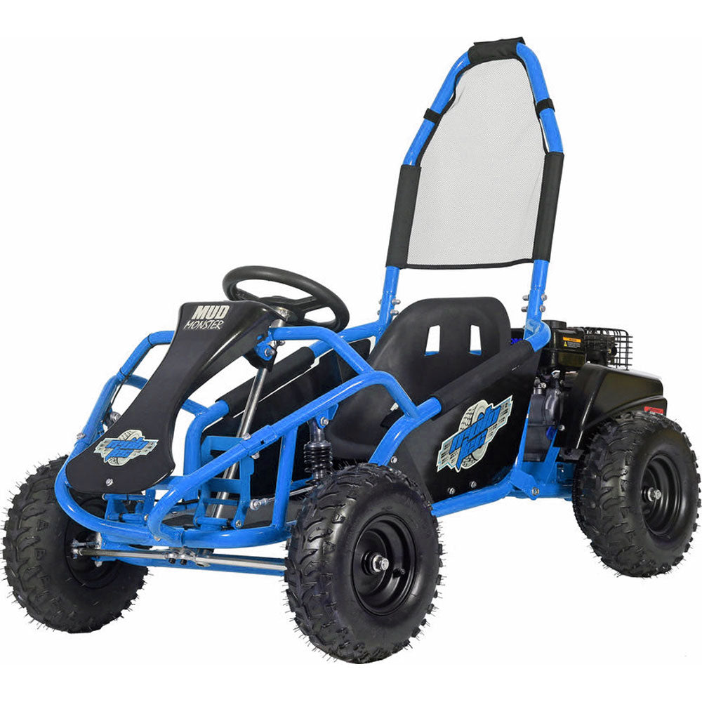 MotoTec Mud Monster Kids Gas Powered 98cc Go Kart Full Suspension - BLUE
