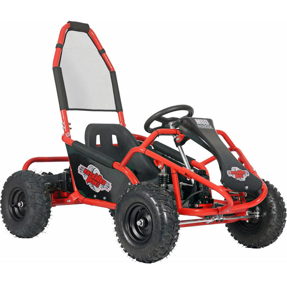 MotoTec Mud Monster Kids Gas Powered 98cc Go Kart Full Suspension - RED