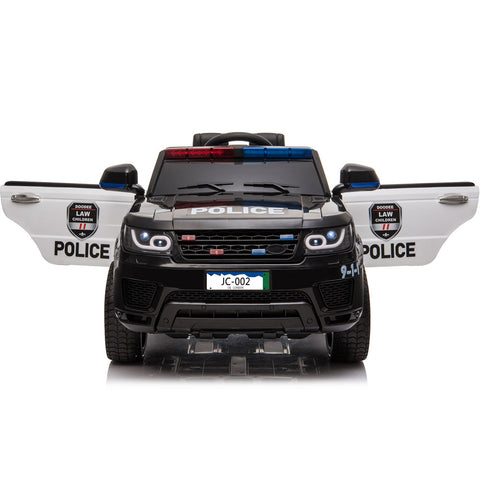 MotoTec Police Car 12v with Remote Control - Electric Mini Quad Black/White Ridetique.com