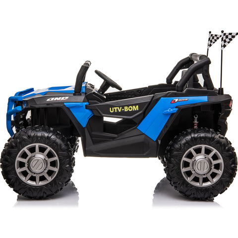 MotoTec UTV 4x4 Reaper 12v with Remote Control - Electric Mini Quad Black/Blue Ridetique.com
