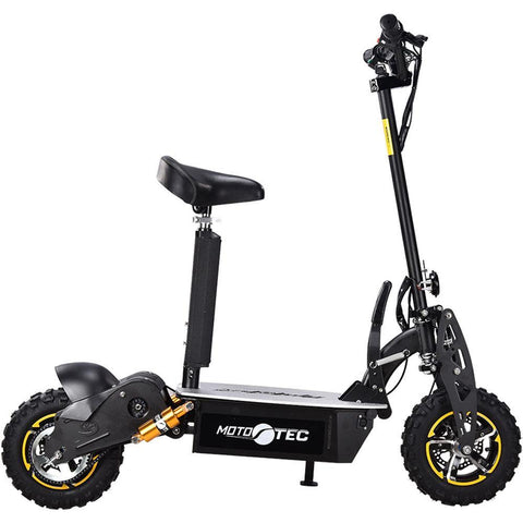 MotoTec 2000w 60v Folding Black Electric Scooter - Electric Scooter Ridetique.com