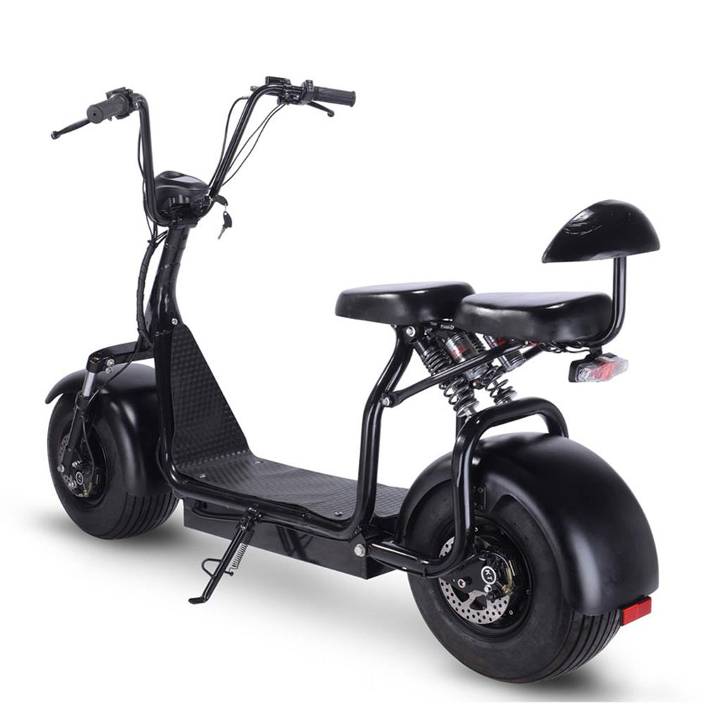 MotoTec Knockout 1000w Lithium Electric Scooter Black - Electric Trike Ridetique.com