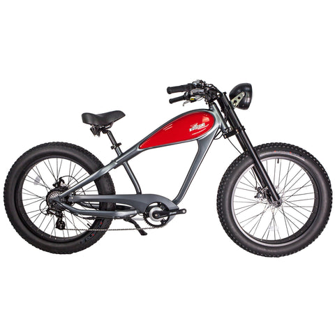 Civi Bike Cheetah - the Café Racer 48v 750w Fat Tire Electric Bicycle - Electric Bike Platinum Gray Ridetique.com