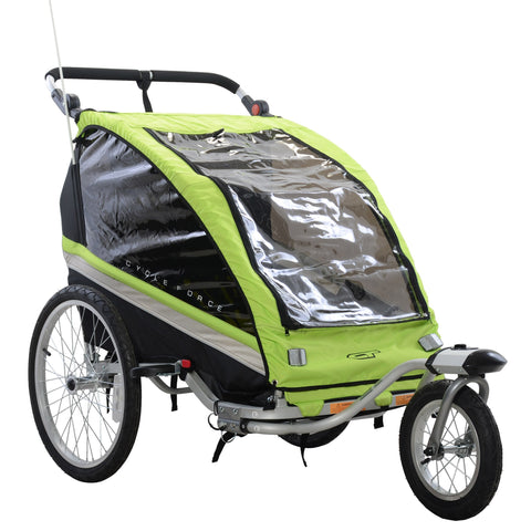 Cycle Force C23 Double Child 3-In-1 Bicycle Trailer, Jogger, Stroller - Trailer Ridetique.com
