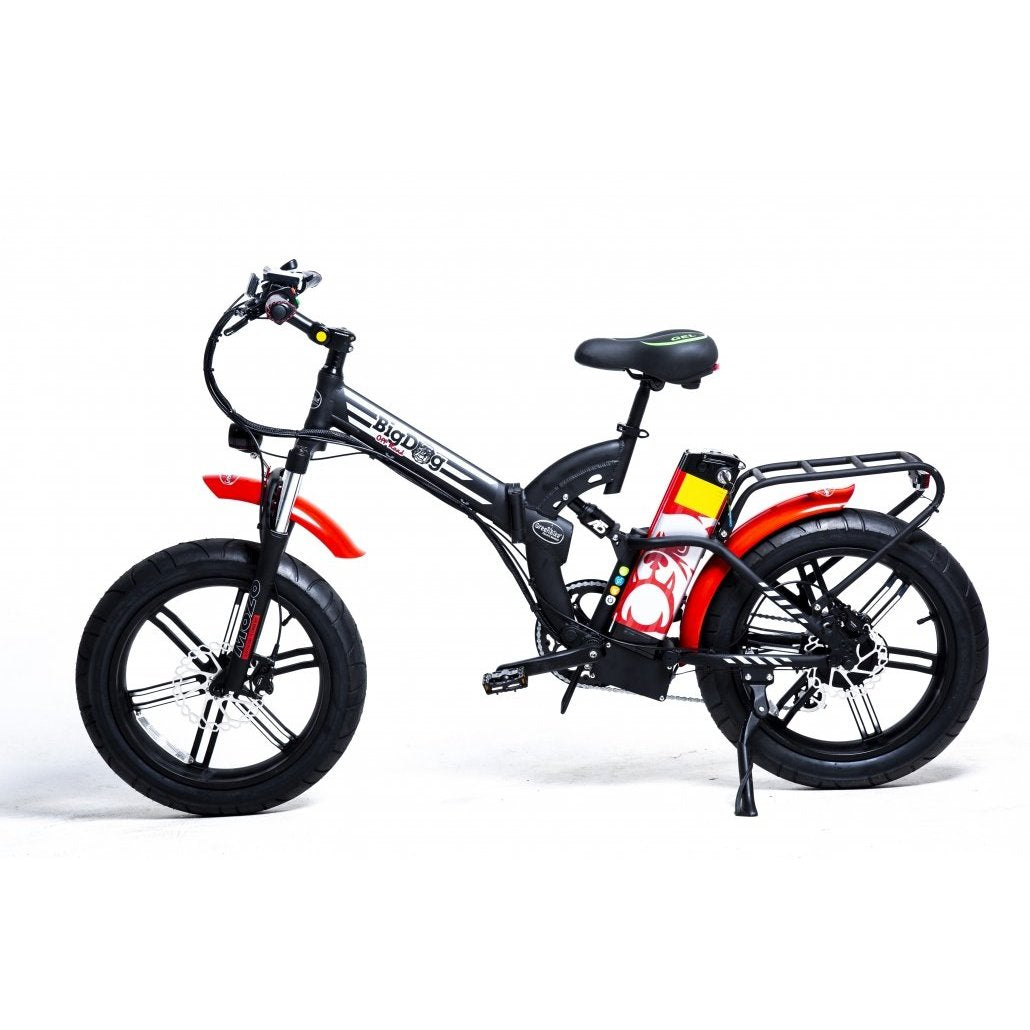 GreenBike Big Dog Off Road 48v 750w High Step Folding Fat Tire Electric Bicycle - Electric Bike Black/Red Ridetique.com