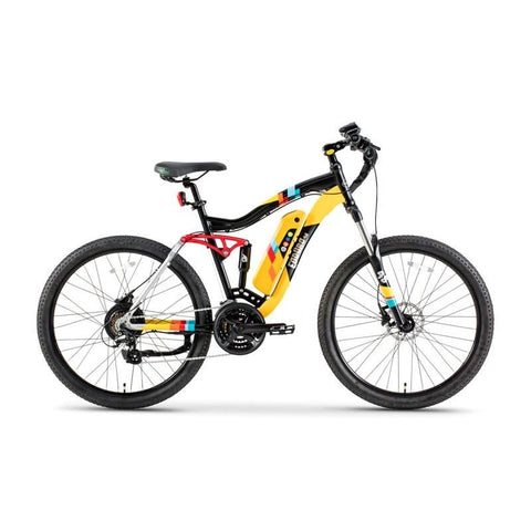 GreenBike Colt 48v 350w Full Suspension Electric Mountain Bicycle - Electric Bike Yellow with Black Ridetique.com