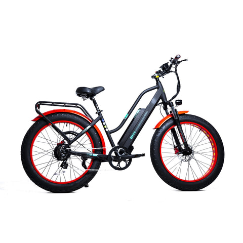 GreenBike EM26 48v 750w 26 Inch Low Step Electric Bicycle - Electric Bike Black/Red Ridetique.com
