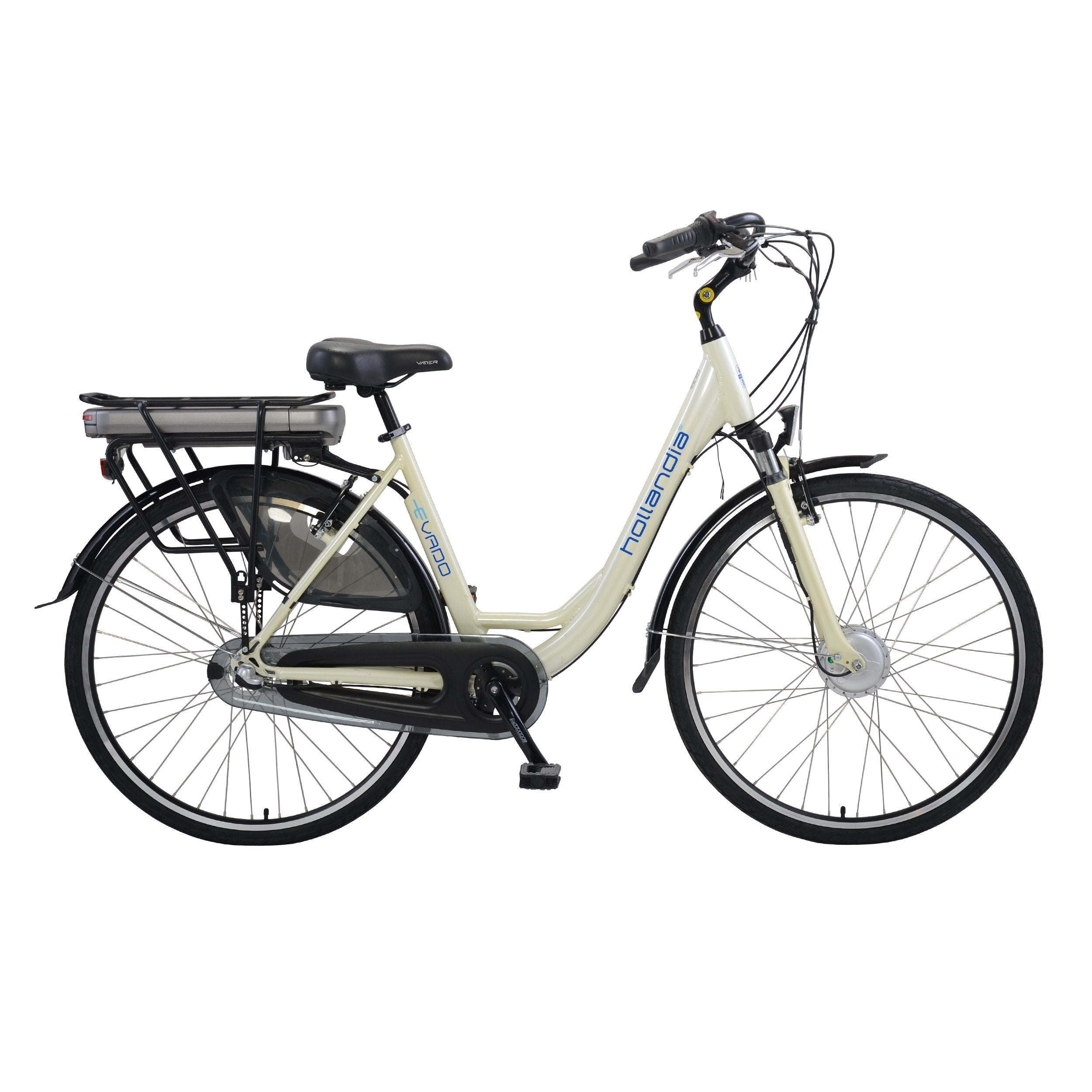 Hollandia Evado 18-Inch Step-Through 700C Electric Bicycle - Electric Bike White / 3-Speed Hub Ridetique.com