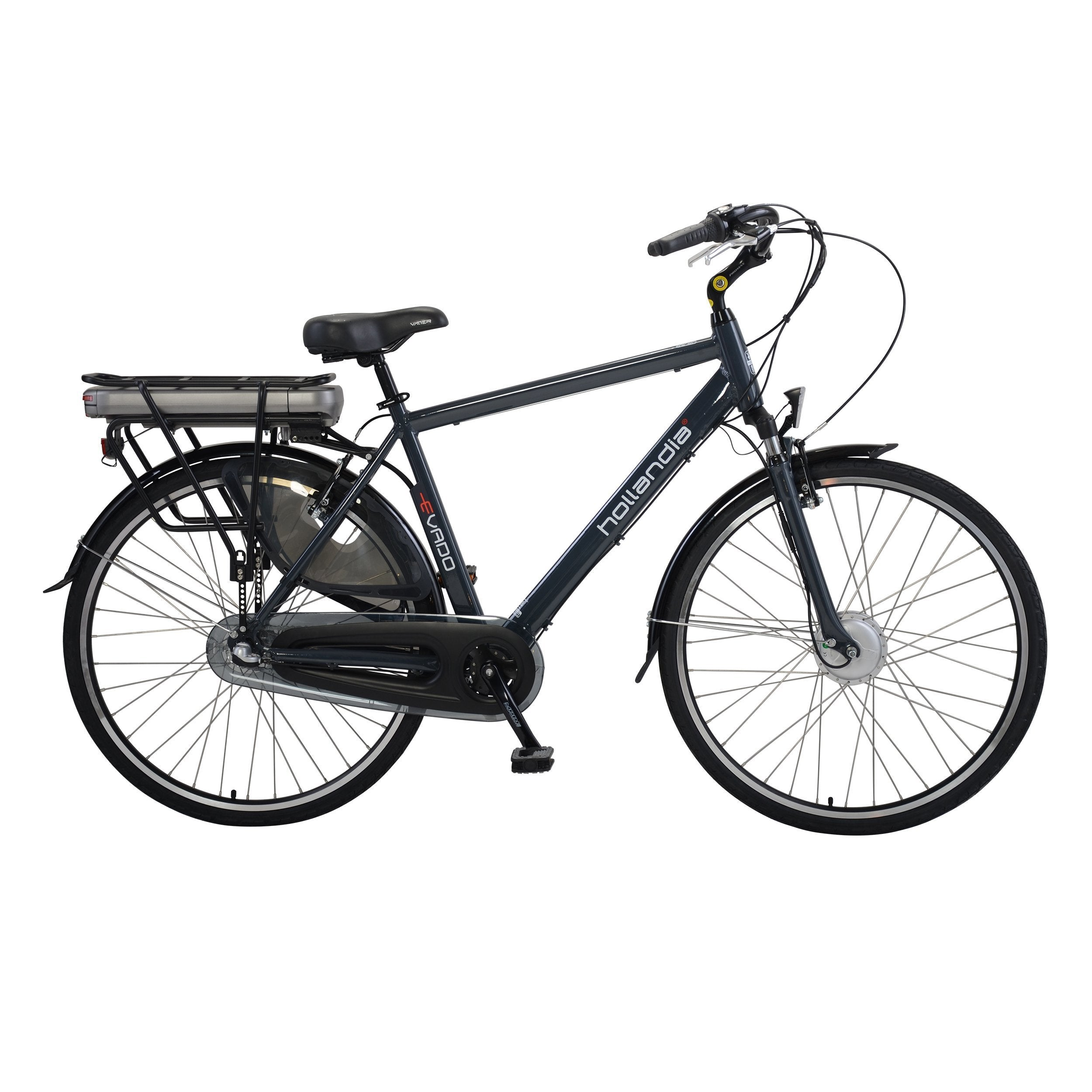 Hollandia Evado Nexus 3 Speed Men's 700c Charcoal Gray Electric Bicycle - Electric Bike 19-Inch Ridetique.com