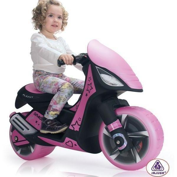Injusa Dragon Kids 6v Electric Ride On Scooter Motorcycle in Pink - Ride On Toys Ridetique.com