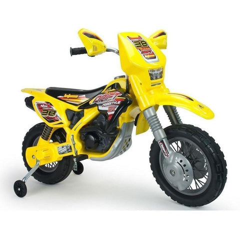Injusa Motocross Drift ZX Kids 12v Electric Dirt Bike in Yellow - Ride On Toys Ridetique.com