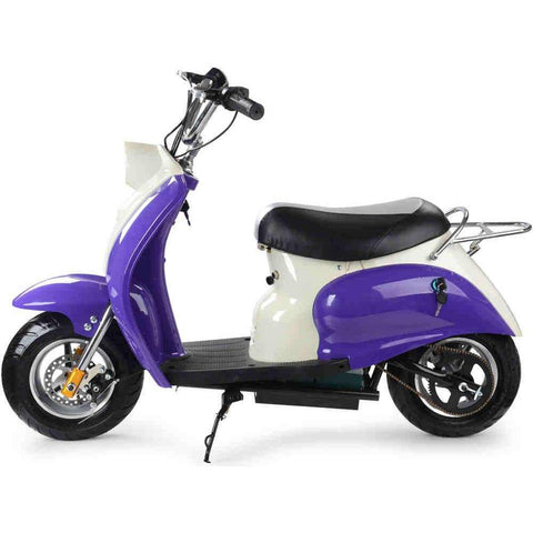MotoTec 24v 350w Purple Electric Moped Scooter - Electric Scooter Ridetique.com