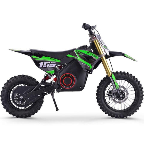 MotoTec 36v 1000w Electric Powered Lithium Dirt Bike in Green - Electric Dirt Bike Ridetique.com