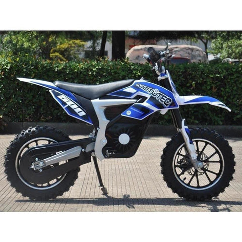 MotoTec 36v 500w Electric Powered Lithium Dirt Bike in Blue - Electric Dirt Bike Ridetique.com