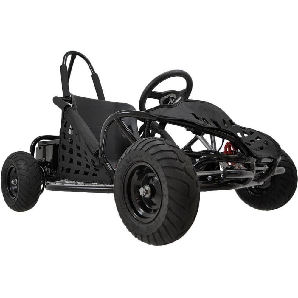 MotoTec 48v 1000W Electric Powered Go-Kart - Electric Go Kart Black Ridetique.com