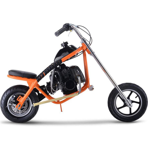 MotoTec 49cc Gas Mini Chopper - Gas Mini Chopper Orange Ridetique.com
