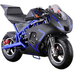 MotoTec Cali 40cc 4-Stroke Gas Powered Pocket Bike - Gas Pocket Bike Blue Ridetique.com
