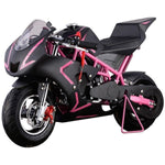 MotoTec Cali 40cc 4-Stroke Gas Powered Pocket Bike - Gas Pocket Bike Pink Ridetique.com