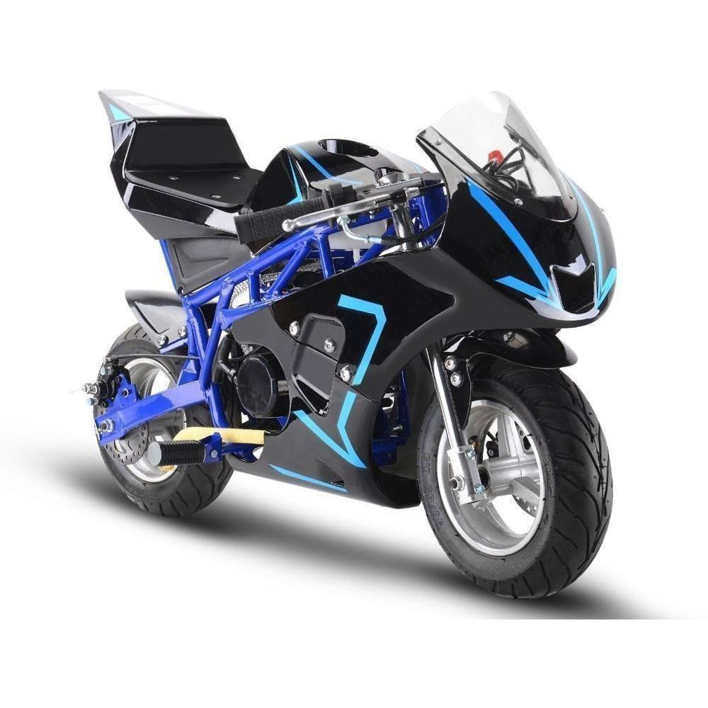 MotoTec GP 33cc 2-Stroke Gas Powered Pocket Bike - Gas Pocket Bike Blue Ridetique.com