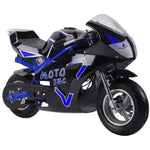 MotoTec GT 36v 500w Electric Powered Pocket Bike - Electric Pocket Bike Blue Ridetique.com