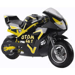 MotoTec GT 36v 500w Electric Powered Pocket Bike - Electric Pocket Bike Yellow Ridetique.com