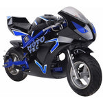 MotoTec GT 49cc 2-Stroke Gas Powered Pocket Bike - Gas Pocket Bike Blue Ridetique.com