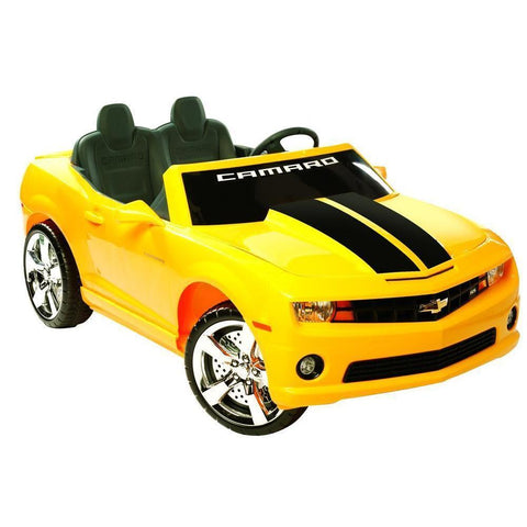 NPL Kids Chevrolet Racing Camaro 12v Electric Car - Ride On Toys Yellow Ridetique.com