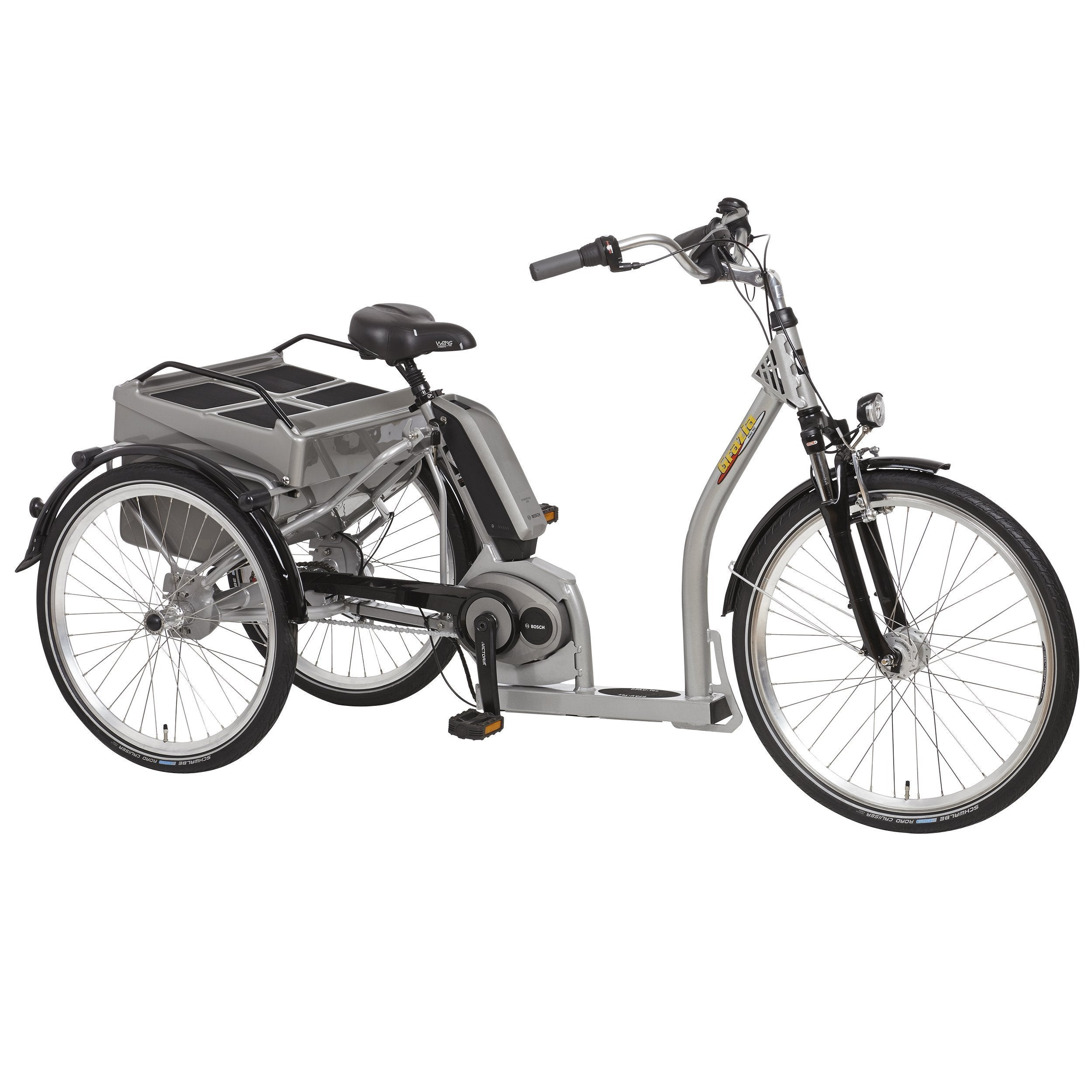 PFIFF Grazia Silver 26/24 Inch Step-Through Bosch Electric Tricycle - Electric Trike Ridetique.com