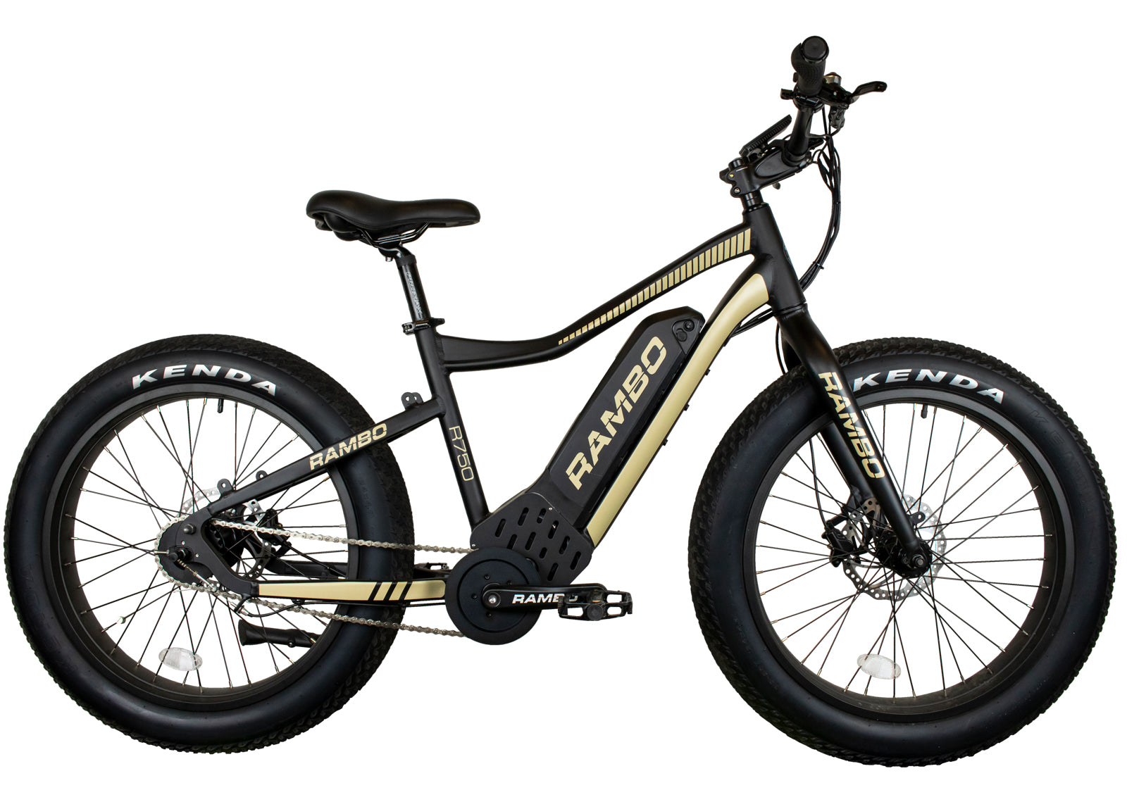 RAMBO RYDER 750W 24 MATTE BLACK AND TAN - Electric Bike Ridetique.com