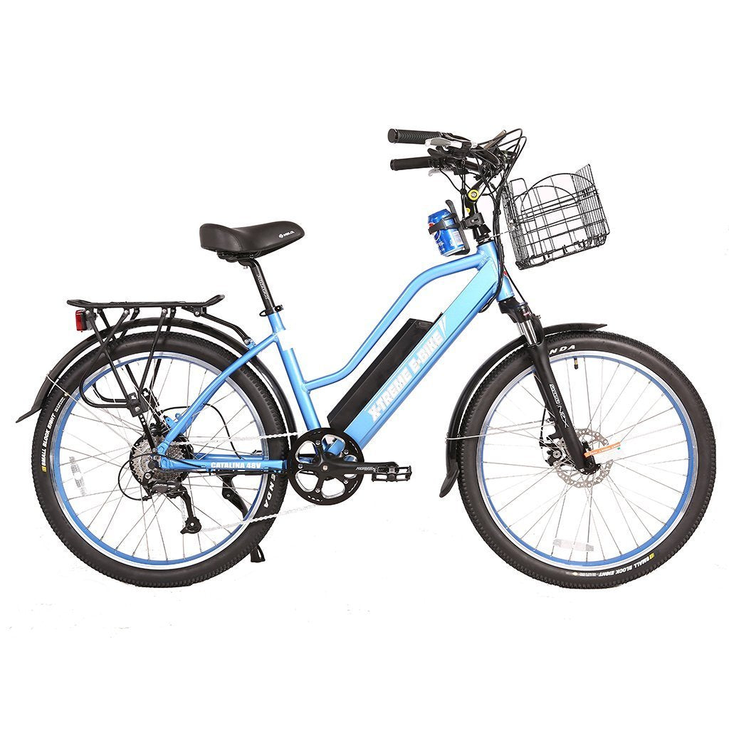 X-Treme Catalina 48v 26-Inch Step-Through Women Electric Beach Cruiser eBike - Electric Bike Blue Ridetique.com