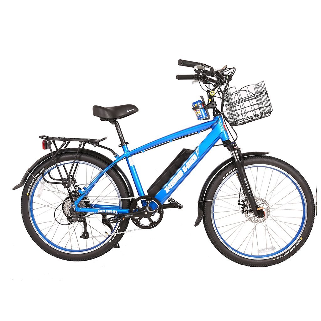 X-Treme Laguna 48v Beach Cruiser Electric Bike - Electric Bike Metallic Blue Ridetique.com