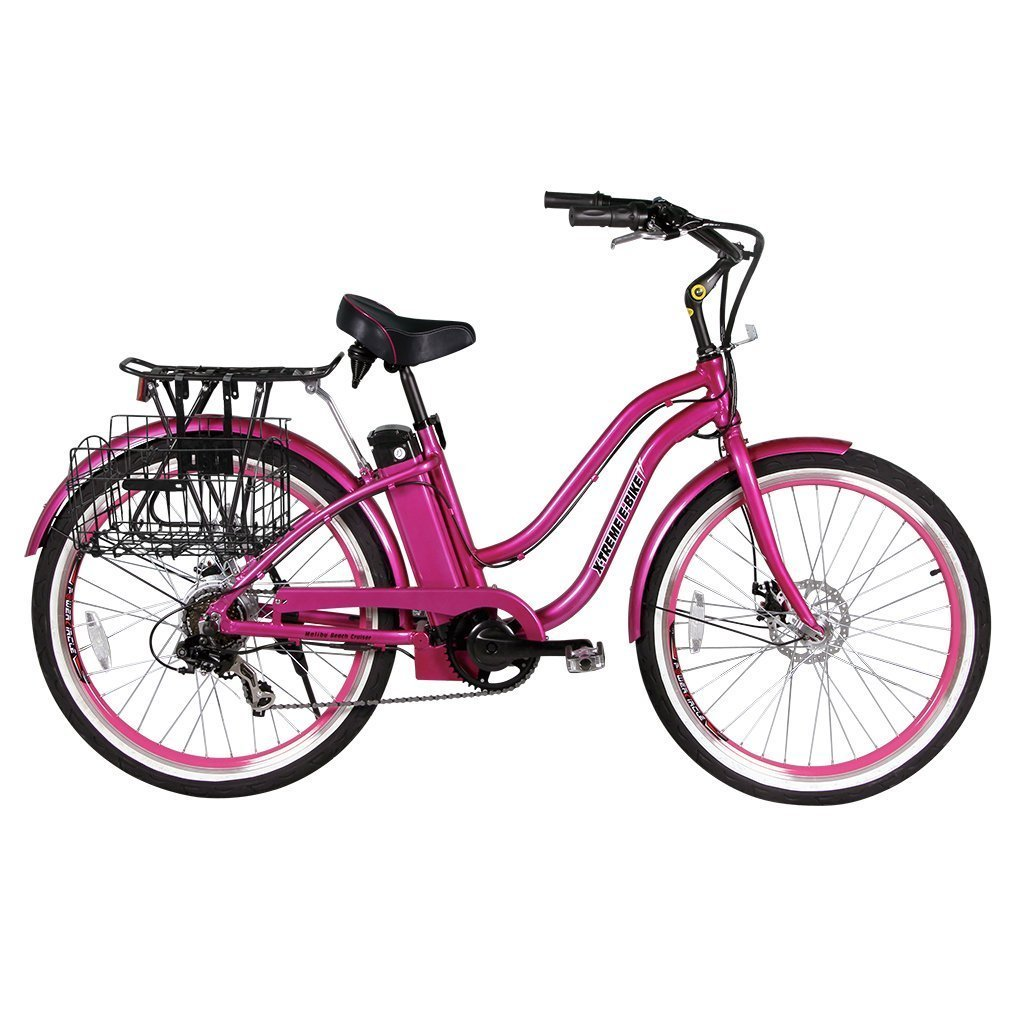 X-Treme Malibu Elite 24v 300w Beach Cruiser Electric Bike - Electric Bike Pink Ridetique.com