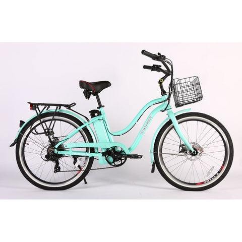 X-Treme Malibu Elite Max 36v Beach Cruiser Step Through Electric Bike - w/ PAS - Electric Bike Teal Ridetique.com