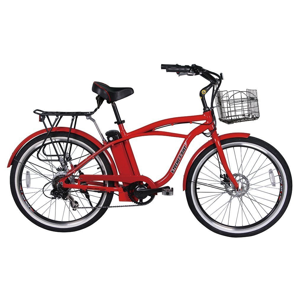 X-Treme Newport Elite 24v 300w Beach Cruiser Electric Bike - Electric Bike Metallic Red Ridetique.com