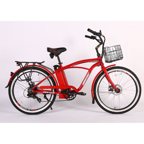 X-Treme Newport Elite Max 36v 300w Beach Cruiser Step Through Electric Bicycle - Electric Bike Metallic Red Ridetique.com