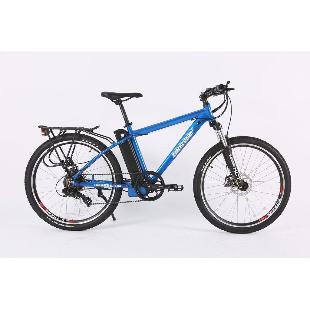 X-Treme Trail Maker Elite Max 36v Electric Mountain Bike - Electric Bike Metallic Blue Ridetique.com
